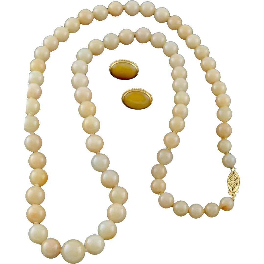 Estate 14K Gold Asian Honey Jadeite Necklace Earring Set