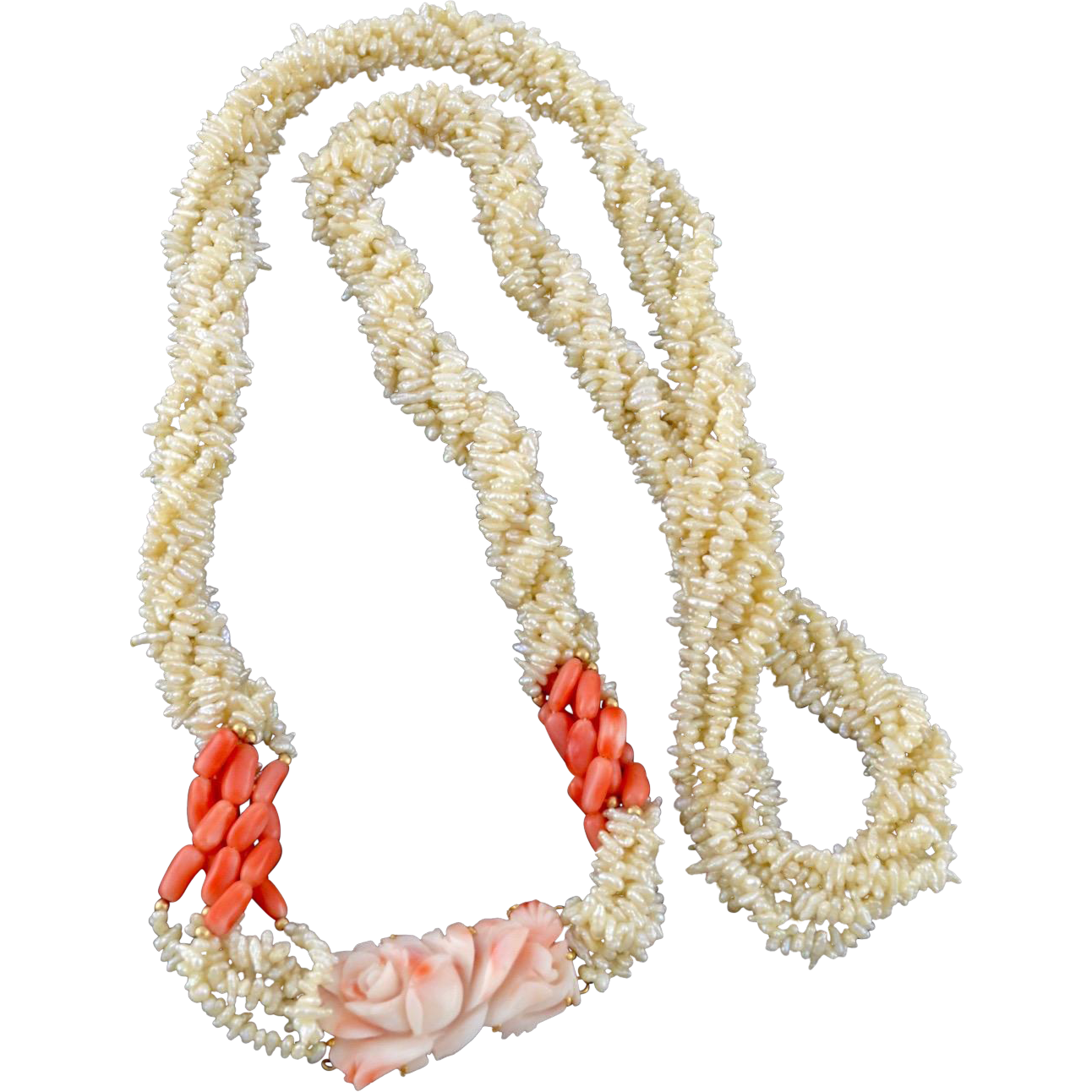 Angel Skin Coral Rose Medallion Freshwater Rice Pearl Opera Necklace.