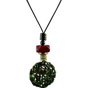 Asian Nephrite Pierced Jade Dragon Pendant Necklace