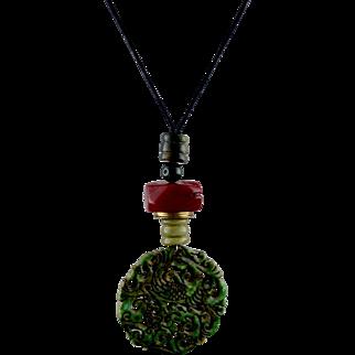 Asian Nephrite Pierced Jade Dragon Pendant Necklace