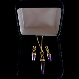 18K Gold Natural Amethyst Modernist Polished Gemstone Necklace & Earrings