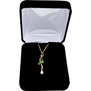 Art Nouveau Style 18K Gold Three Stone Diamond Emerald Pendant Necklace