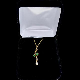 Art Nouveau Style 18K Gold Three Stone Diamond Emerald Pendant Necklace