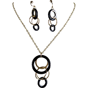 14K Italian Gold Onyx Concentric Drop Necklace and Earring Set