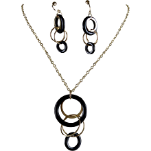 14K Italian Gold Onyx Concentric Drop Necklace and Earring Set - Red Tag Sale Item