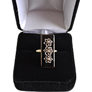Estate Deco Style 10K Gold Filled Onyx Ring with 3 Diamond Chips