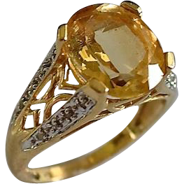 Fancy 14K Gold 4 Carat Citrine & Diamond Pave Ring
