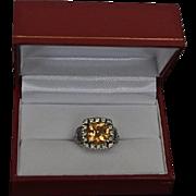 3.42 Carats 14K Gold Maderia Citrine & Peridot Artisan Ring
