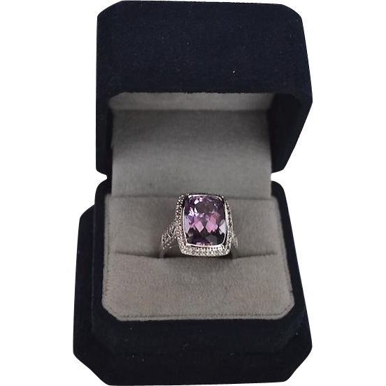 Modernist 14Kt Amethyst & Diamond Pave Cocktail Ring
