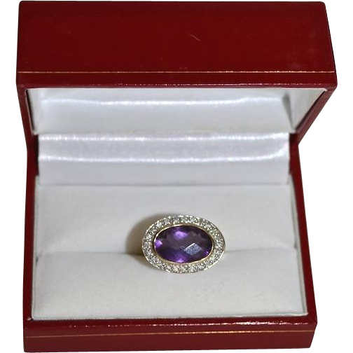 Modernist 14K Gold Oval Amethyst & Diamond Pave' Ring
