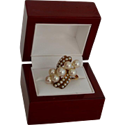 Cultured Pearl 14K Gold Fancy Dinner Ring