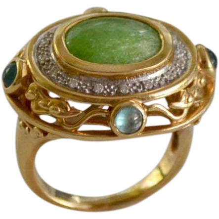 Estate Jadeite, Aquamarine & Diamond Gemstone Ring