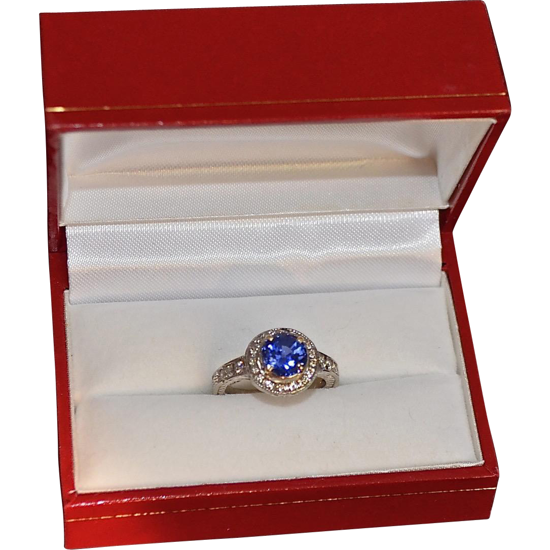 Estate 14K Gold Blue Sapphire Diamond Halo engagement Ring