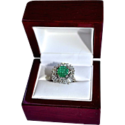 Estate 3.64 Carat Natural Blue Green Emerald & Diamond 14K Gold Ring