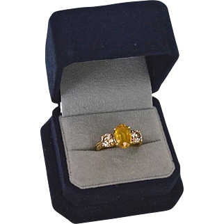 Fancy 1.30 Carat Diamond &  Sapphire (2.84 cts)14K Gold Engagement Ring