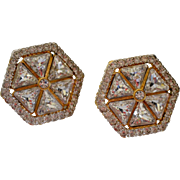 Designer Valentino Gold Plated Hexagon Shaped Swarovski Crystal Earrings