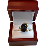 Rare 14K Gold Dragon Ring with Black Onyx Gemstone