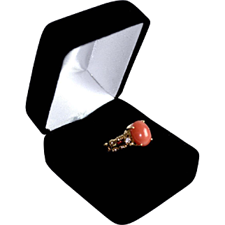 14K Gold Salmon Pink Coral Ring Accent Diamond Accent Band