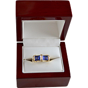 Custom Bluish Purple 2.30 Carat Tanzanite Gemstone  14K Gold Rings