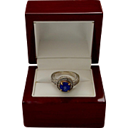 Estate 14K White Gold Diamond Synthetic Blue Sapphire Halo Ring 50% Off
