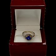 Estate 14K White Gold Diamond Synthetic Blue Sapphire Halo Ring