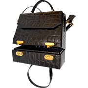 Stunning Designer Black Embossed Croc Leather Handbag Travel Tote