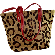 Small Valentino Leopard Print Calf Skin Evening Tote