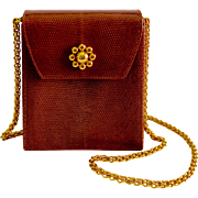 Paloma Picasso Cognac Lizard Skin Handbag Gilt Chain Shoulder Strap