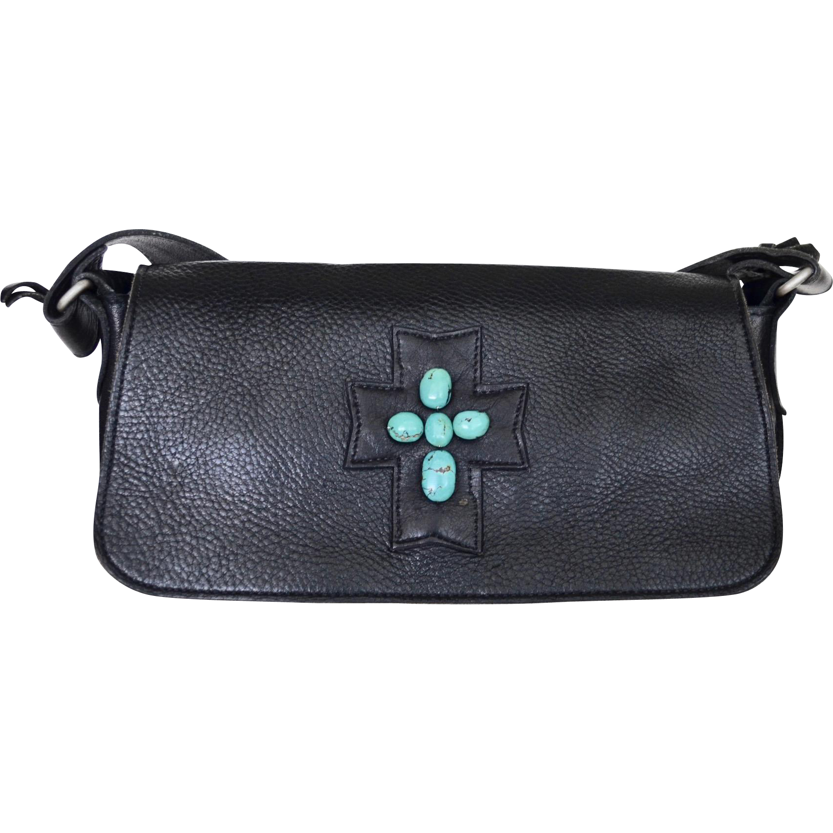 Western Two Bar West Black Cowhide Tote With Turquoise Adornment
