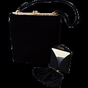 Vintage 50's Black Suede Leather Kelly Handbag By Williams