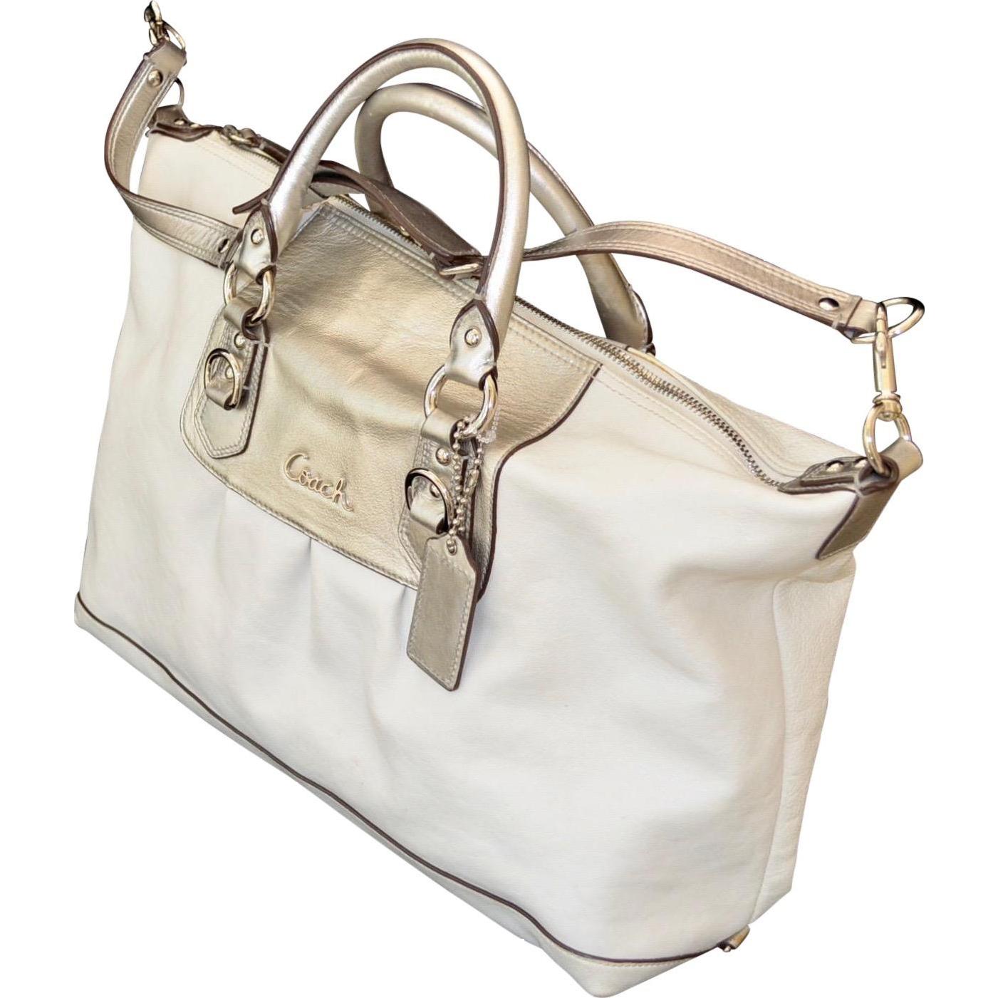 Silver White Coach Ashley Leather Satchel Style Handbag