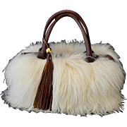 Peruvian Natural Alpaca Fur Brown Leather Tote Handbag