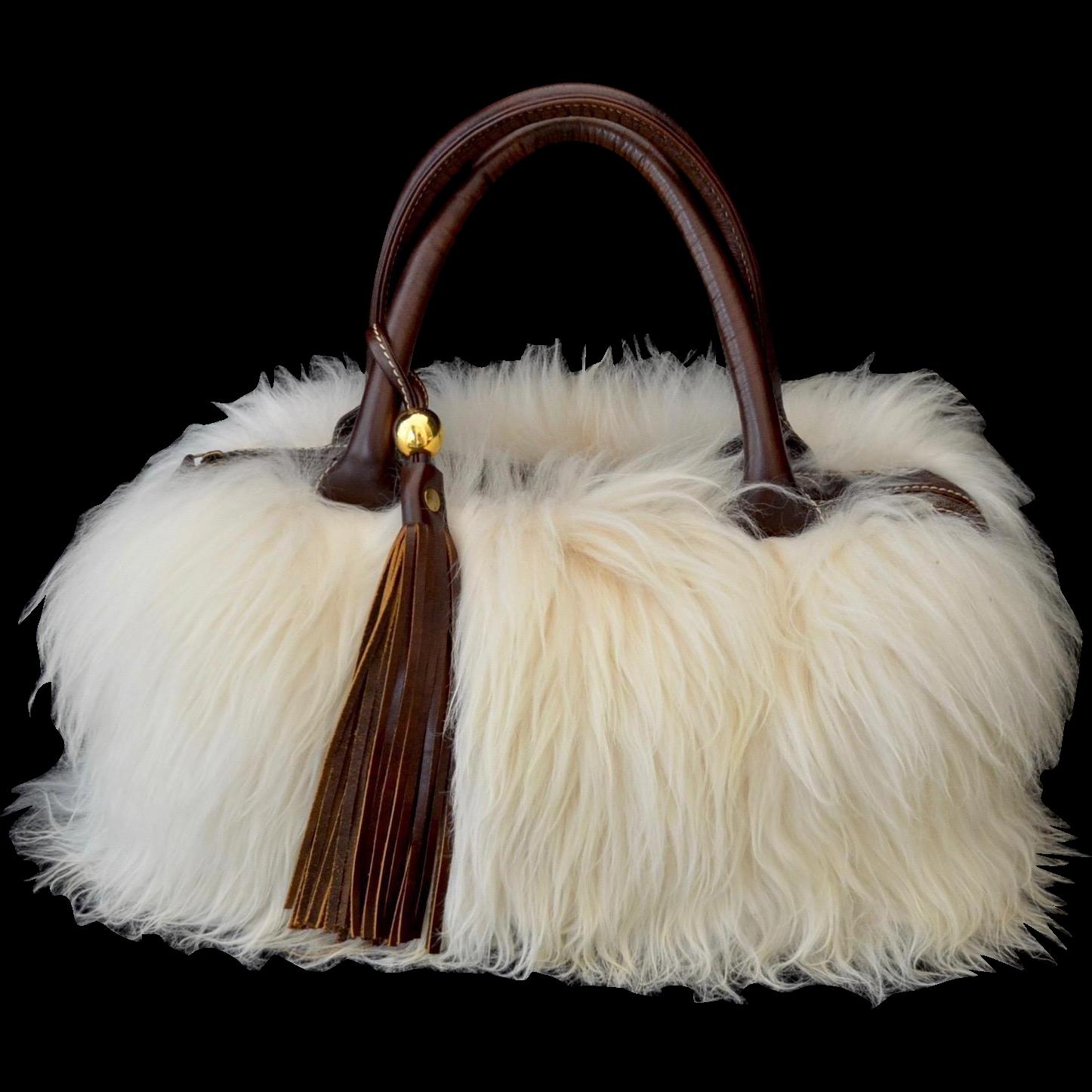 Peruvian Natural Alpaca Fur Brown Leather Tote Handbag