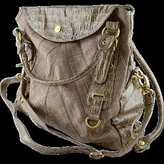 Large Faux Crocodile Embossed Leatherette Travel Tote / Computer Handbag