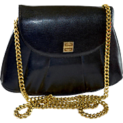 Vintage Givenchy Paris Leather Shell Handbag Chain Shoulder Strap