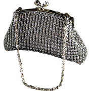 Rhinestone Studded Silver Tone Evening Hangbag by Franchi