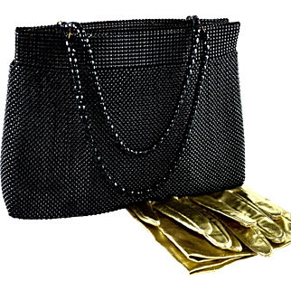 Vintage Whiting & Davis Mesh Clutch Gold Undertones