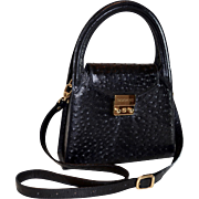 Black Ostrich Leather Kelly Style Handbag Rogani Italy