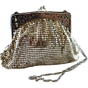 Vintage Small Whiting Davis Silver Mesh Metal Evening Handbag