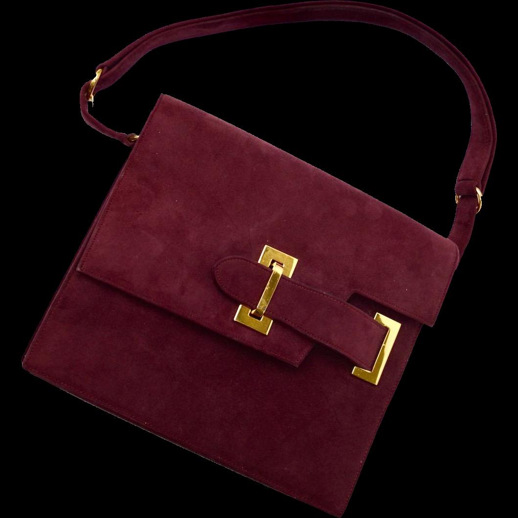 Vintage Burgundy SAKS Fifth Avenue Kelly Suede Handbag