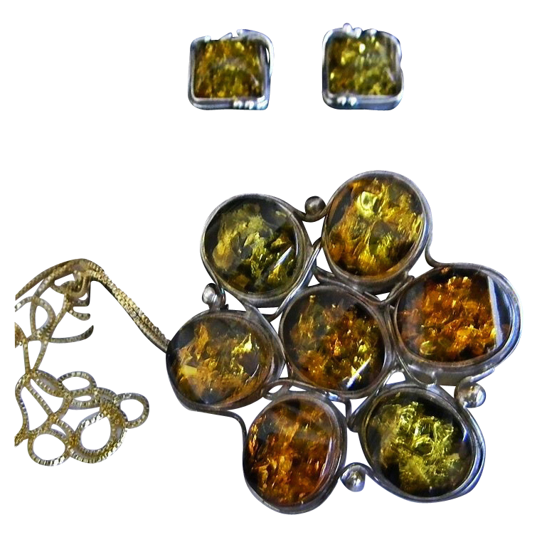 Vintage Sterling Two-Tone Amber Floral Brooch & Earring Set