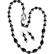 Black Jet Glass Beaded Mourning Style Necklace with Earrings