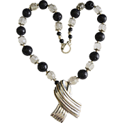 Sterling Silver Mexico Pendant Necklace With Crystal / Black Lava Beads