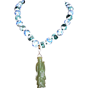 Chinese Export Hand-Painted Dragon Jade Pendant Necklace