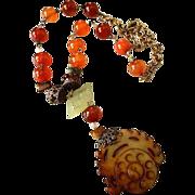 Vintage Asian Jadeite & Carnelian Chrysophase Pendant Necklace