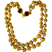 Vintage Chanel 12K Gold Plate 2 Strand Nugget Necklace Gripoix Clasp