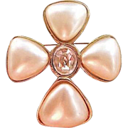 Iconic Chanel Gripoix Glass Pearls & Swarovski Crystal Brooch