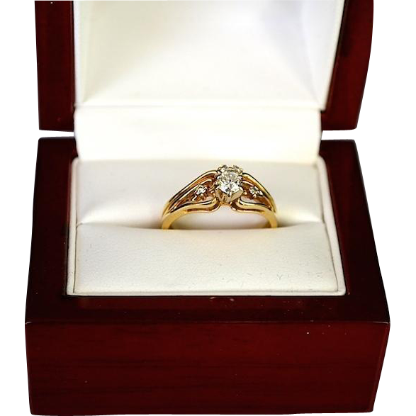 Romantic Estate Diamond Wedding Ring Combination 14K Gold Heart Vine Setting
