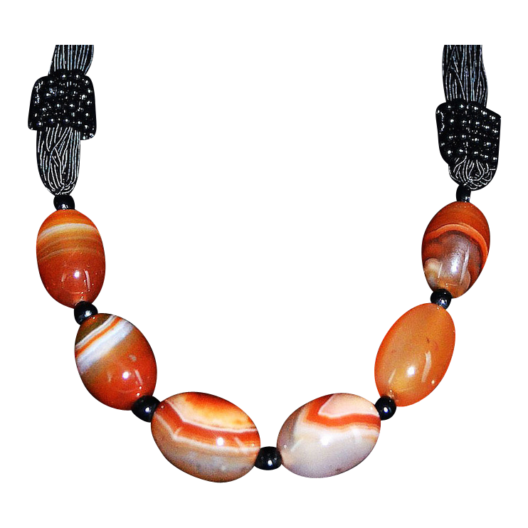 Vibrant Carnelian Banded Agate Tribal Silk Cord Necklace