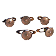 European Unisex 14kt Gold Cultured Pearl Cufflinks & Studs
